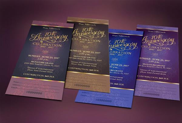 Best Church Anniversary Banquet Ticket