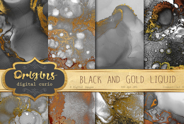 Black and Gold Liquid Textures