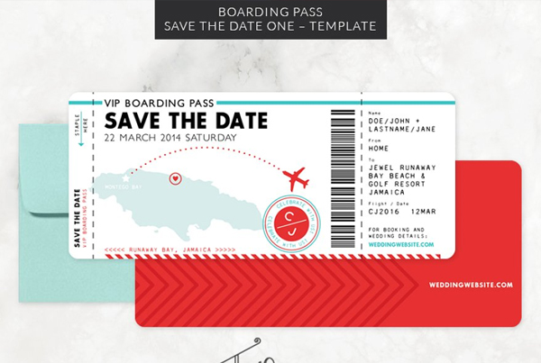 Boarding Pass Save the Date Invitation Template