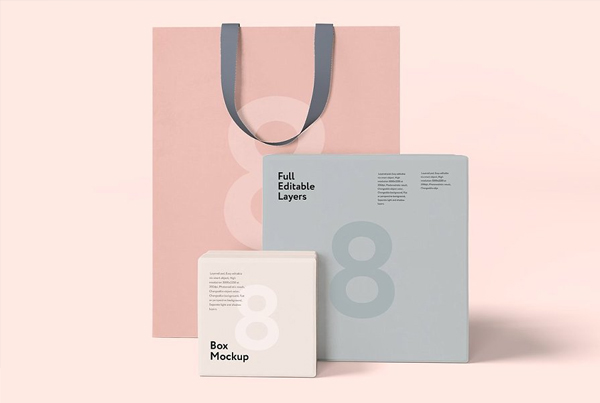Box and Shopping Bag Mockup Bundle