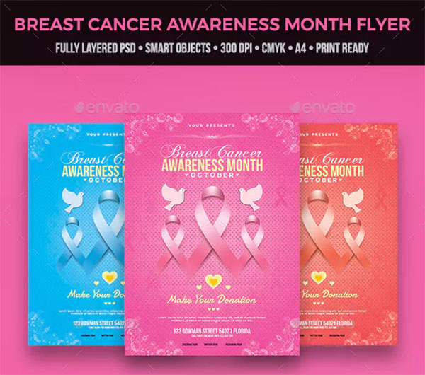 Breast Cancer Awareness Month Flyer Design Template