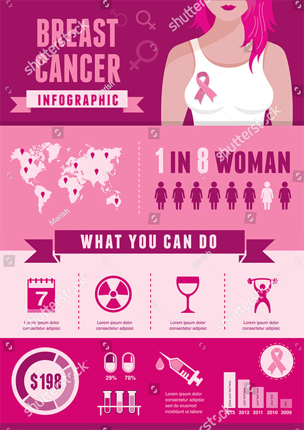 Breast Cancer Ribbon Infographic Vector