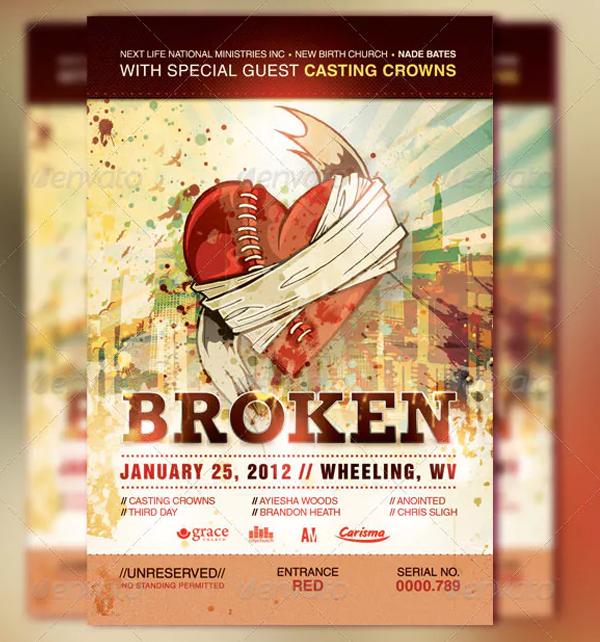 Broken Church Event Ticket and CD Template