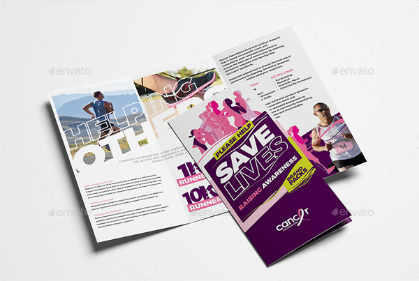 Cancer Benefit Tri-Fold Brochure Template