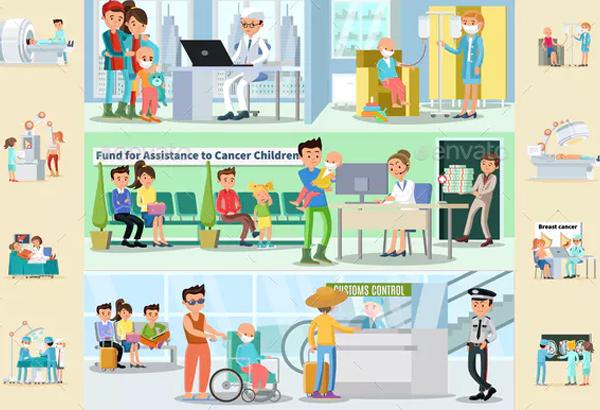 Cancer Disease Horizontal Brochures