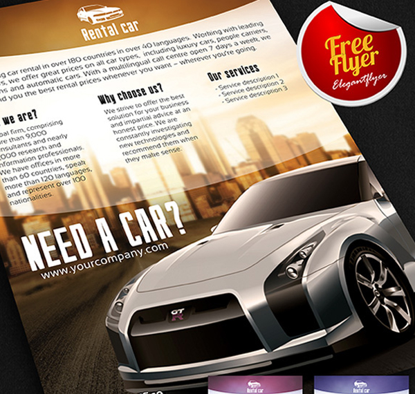 Car Rental Free Flyer PSD Template and Facebook Cover Template