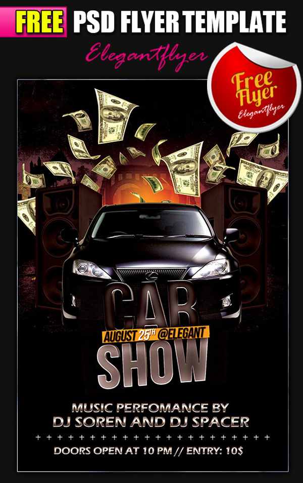 Car Show Free Flyer PSD Template and Facebook Cover