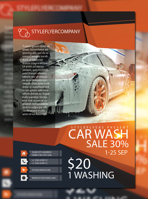 Car Wash Free Flyer Template