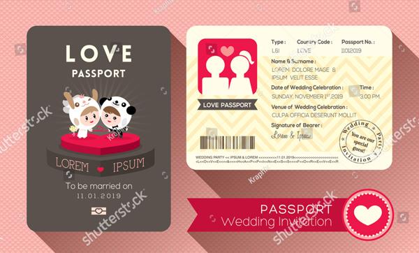 Cartoon Passport Wedding Invitation