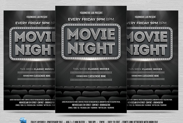 Chalkboard Movie Night Flyer