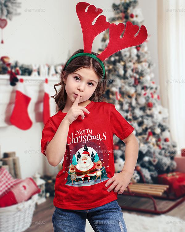 Christmas Kids T-Shirt PSD Mockups