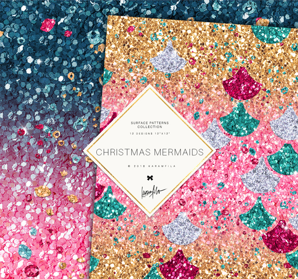 Christmas Glitter Mermaid Textures