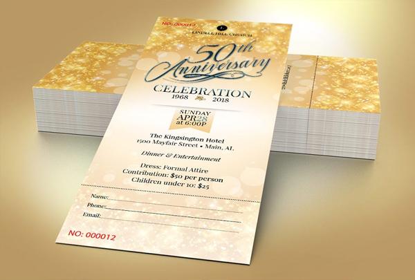 Church Golden Anniversary Ticket