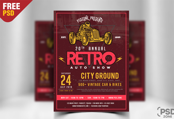 Classic Car Show Flyer Free PSD Template