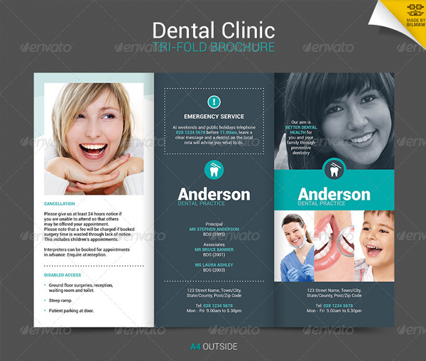 Clean Corporate Dental Clinic Trifold Brochure
