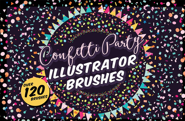 Confetti Party Illustrator Brushes and Textures