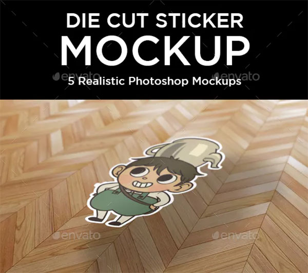 Custom Die Cut Sticker Mockup