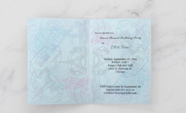 Customizable Passport Birthday Party Invitation