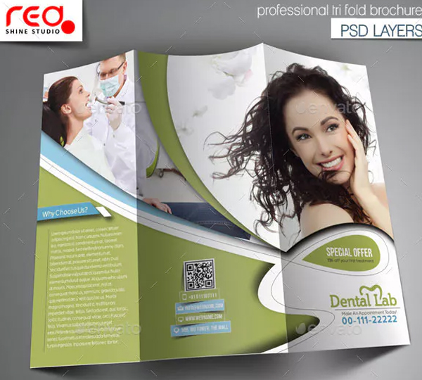 Dental Lab Trifold Brochure Template