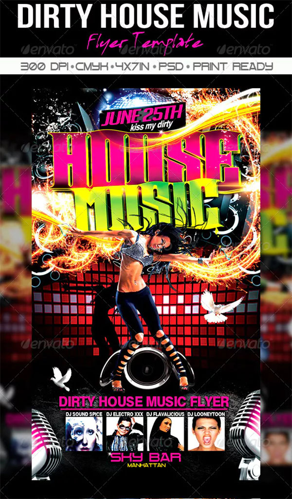 Dirty House Music Flyer Templates