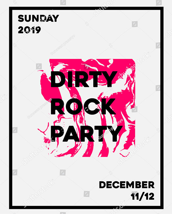 Dirty Rock Party Abstract Minimal Flyer