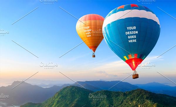 Editable Air Balloon Mock-up