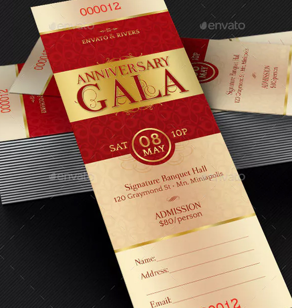 Elegant Anniversary Gala Ticket Template