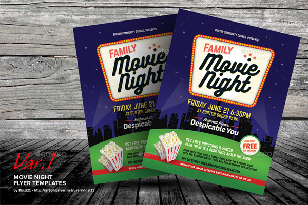 Family Movie Night Flyer Templates