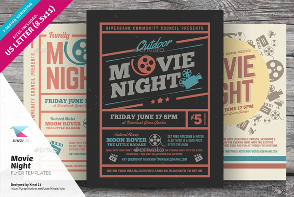 Flat Movie Night Flyer Templates