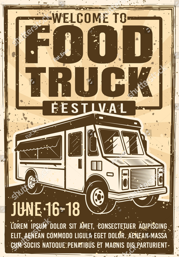 Food Truck Festival Advertising Banner in Vintage Style