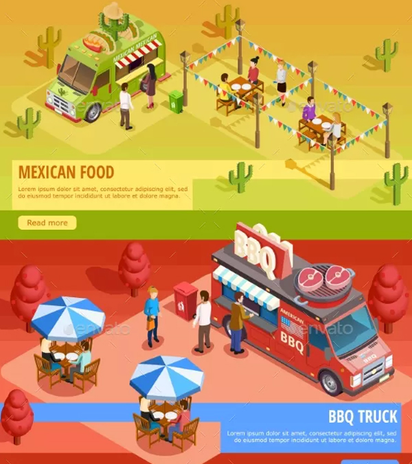 Food Trucks Horizontal Banners