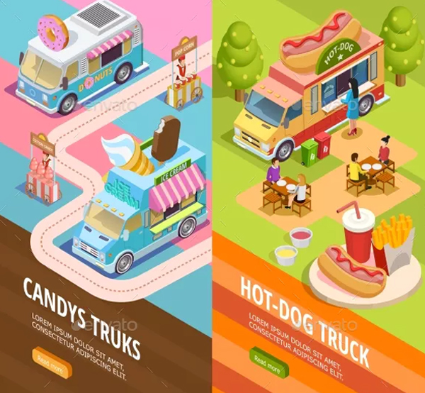 Food Trucks Vertical Banners