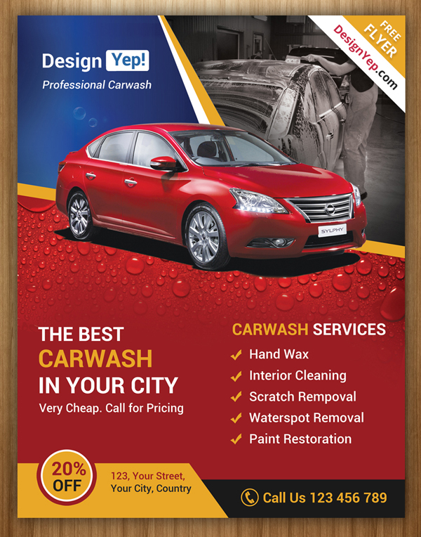Free Car Wash Flyer Photoshop Template