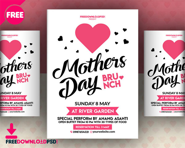 Free PSD Mother's Day Party Flyer Template