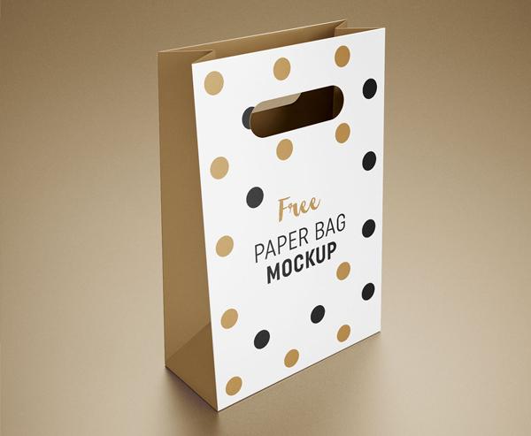 Free Paper Packaging Gift Shopping Bag Mockup