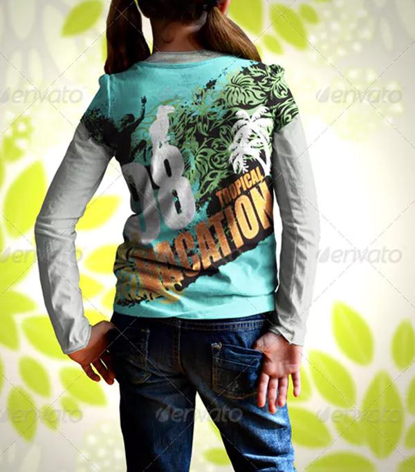 Girl Kids T-Shirt Colorful Mock Up