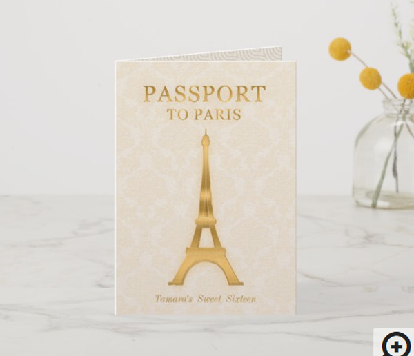 Gold Passport Birthday Invitation