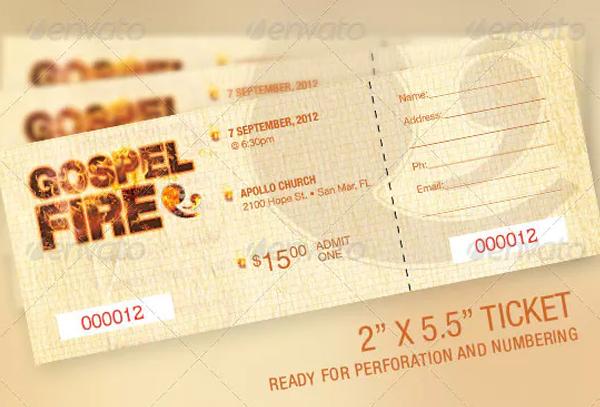 Gospel Fire Church Ticket Template