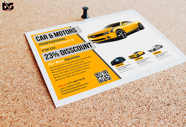 Half Fold Car Product Free Flyer Template