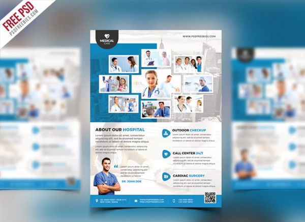 Health Clinic and Hospital Flyer Free PSD Template