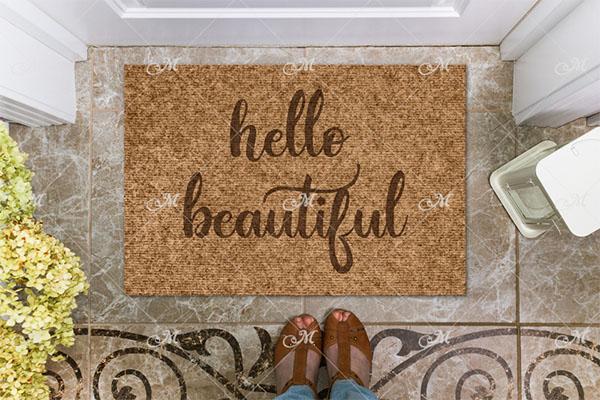 Hello Doormat Mock-up