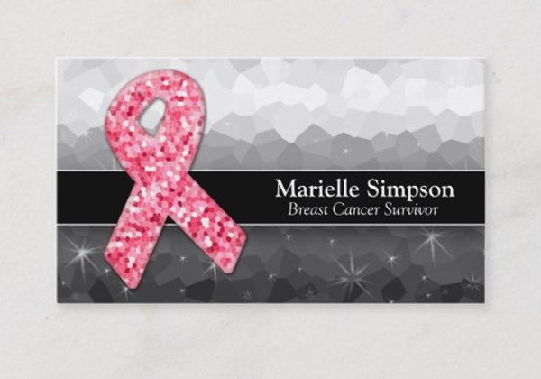 Hot Pink Glitter Breast Cancer Business Card