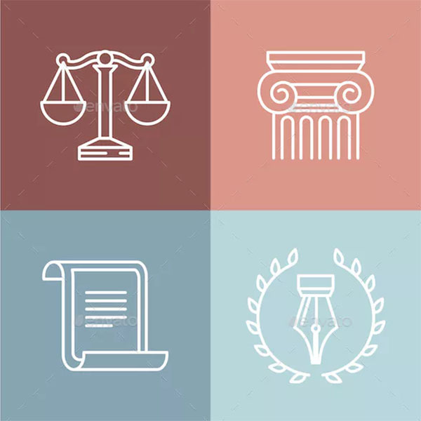 Juridical and Legal Logos Set