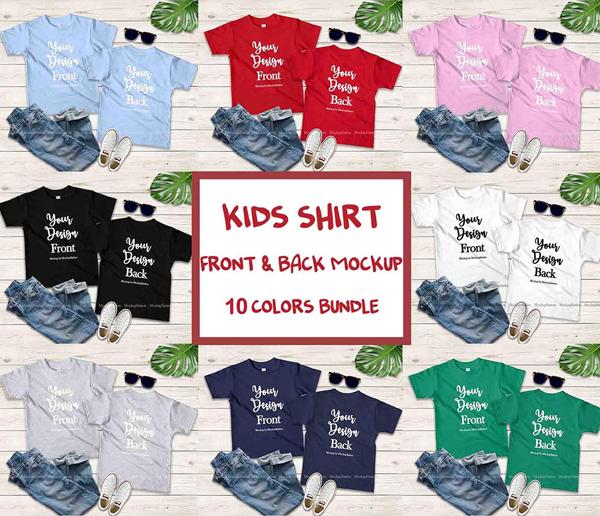 Kids Front & Back Tshirt Mockup Bundle