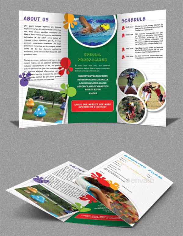 Kids Summer Camp PSD Trifold Brochure