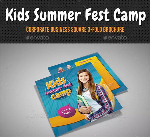 Kids Summer Camp Square 3 Fold Brochure