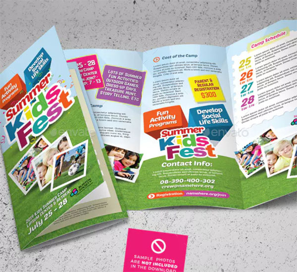 Kids Summer Camp Trifold Brochures