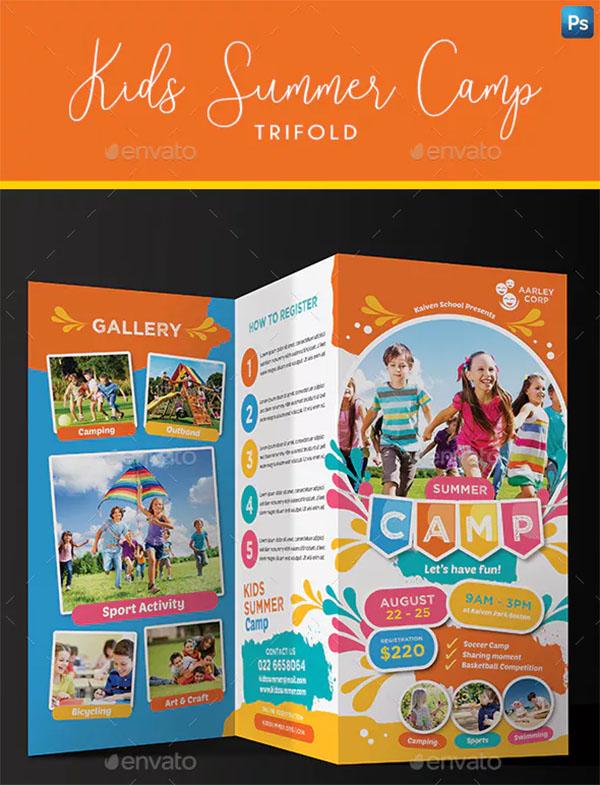 Kids Summer Camp Trifold Business Card