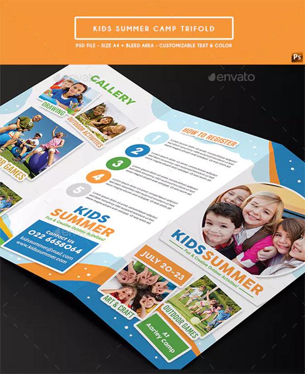 Kids Summer Camp Trifold Design Template