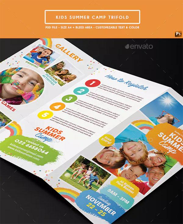 Kids Summer Camp Trifold PSD Design